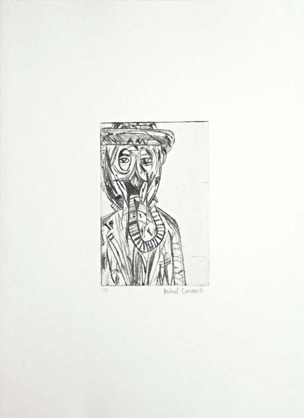 Michael Camakaris, Dad- from the series Nuclear Familiar, 2017, drypoint on paper, 15 x 10 cm